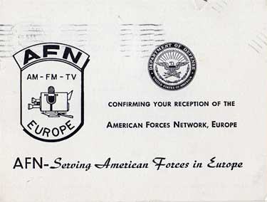QSL card AFN Amererican Forces Network Europe