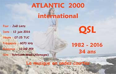 qsl radio atlantic 2000 via Channel 292