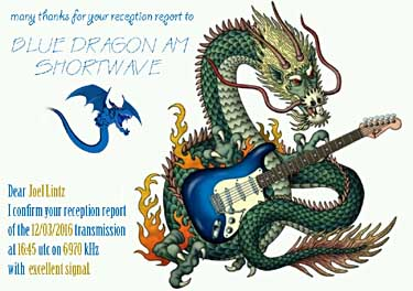 qsl card radio blue dragon pirate radio sw