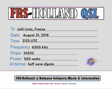 QSL FRSH radio pirate sw