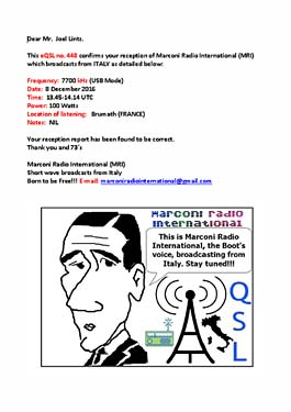 eQSL marconi radio international