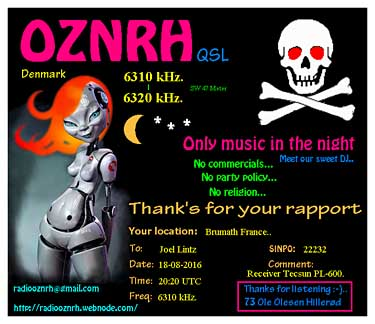 eQSL radio OZNRH pirate SW