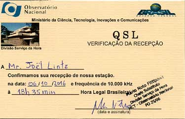 QSL card PPE brasil time signal