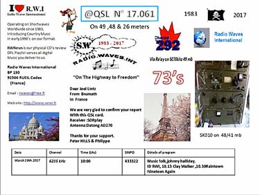 eQSL radio waves international france RWI pirate radio
