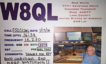 qsl sstv W8QL USA DX ohio