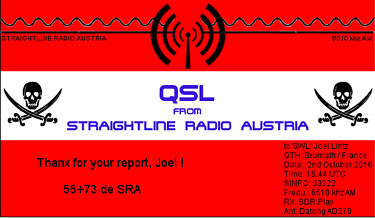 QSL straightline radio austria pirate sw