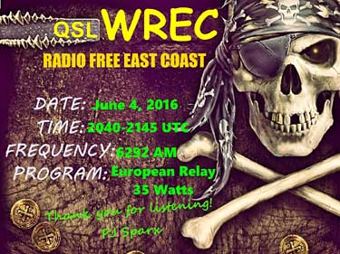 eQSL WRC radio free east coast Us relayed