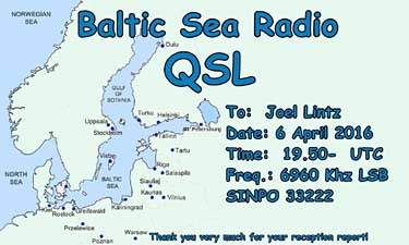 eQSL Baltic Sea Radio Finlande pirate radio sw