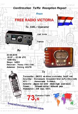 qsl free radio victoria pirate sw