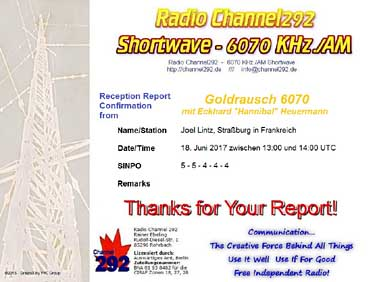 qsl channel 292 goldrausch allemagne germany