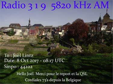 QSSL eQSL radio 319 BEL belgique pirate BC