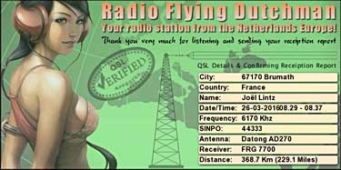 eQSL radio flying dutchman pirate sw