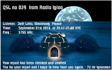 eQSL radio Igloo pirate sw