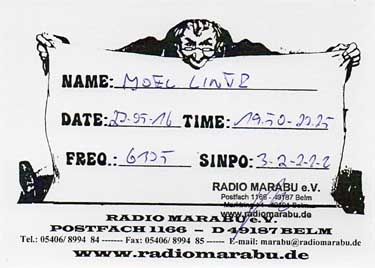 QSL card radio marabu verso paper pirate sw