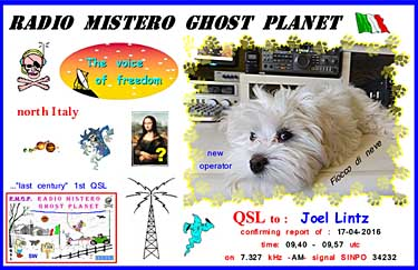 qsl radio mistero ghost planet italie pirate sw