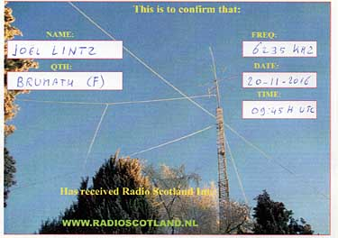 qsl card radio scotland international pirate sw