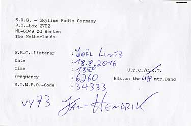 qsl skyline radio germany SRG pirate sw