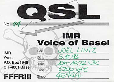 qsl card Voice of Basel - radio pirate sw oc