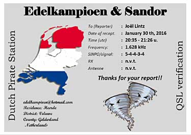 QSL edelkampioen radio pirate