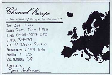 carte QSL channel europe pirate 6199 khz sw