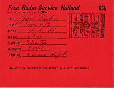 qsl card free radio service holland pirate sw