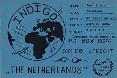 qsl card radio indigo pirate sw oc ondes-courtes
