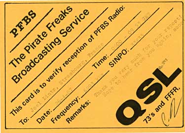 qsl card PFBS Radio Pirate sw