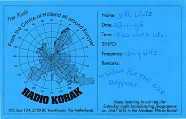 qsl  card radio korak pirate mw