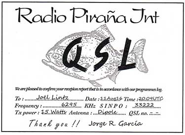 eQSL Radio Pirana pirate radio SW