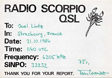 qsl card radio Scorpio pirate SW