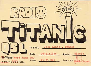 qsl card radio titanic pirate sw oc