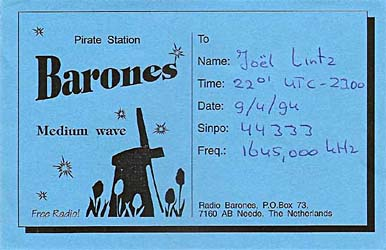 qsl card radio Barones pirate mw